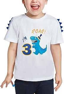AMZTM 3 AñosDinosaurio Camiseta Cumpleaños Bebé Niño Manga Corta