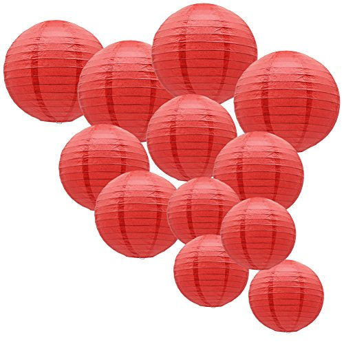 """KAXIXI Paper Round Lantern for Birthday Bridal Wedding Baby Shower Christmas Festival Party Decoration - Great for Indoor or Outdoor Red, 12"""", 10"""", 8"""", 12pcs"""