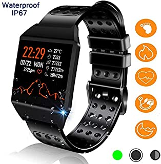 Reloj inteligente Bluetooth, monitor de actividad física con monitor de frecuencia cardíaca, 7 modos deportivos IP67, resistente al agua, monitor de sueño, escalones, contador de calorías, compatible con Android iOS para mujeres y hombres