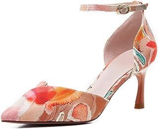 Printed Sandals Ladies' high Heels Stiletto Sandals parquet Buckle Sandals Wedding Ball high Heels Fashion Sandals (Color : Orange, Size : 35/US5.5)