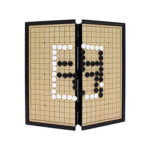 XHH Juego de Tablero de ajedrez Go Juego de Juego magnético Go con Piedras de plástico magnéticas convexas Individuales y Tablero de Go (Familia de Entretenimiento de Rompecabezas)