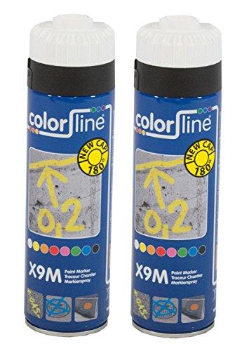 UvV® 2 x 500 ml Bau- und Markierungsspray Typ Colorline- Sprühdose mit Markierfarbe in vielen Farben (Weiß)