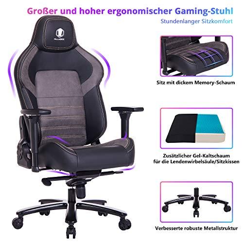 VON RACER KILLABEE großer und breiter Memory-Schaum Gaming Stuhl mit Gel Kaltschaum Lenden- / Sitzkissen und verstellbaren 4D-Armenlehnen