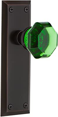 Nostalgic Warehouse 723434 New York Plate Double Dummy Crystal Emerald Glass Door Knob in Oil-Rubbed Bronze