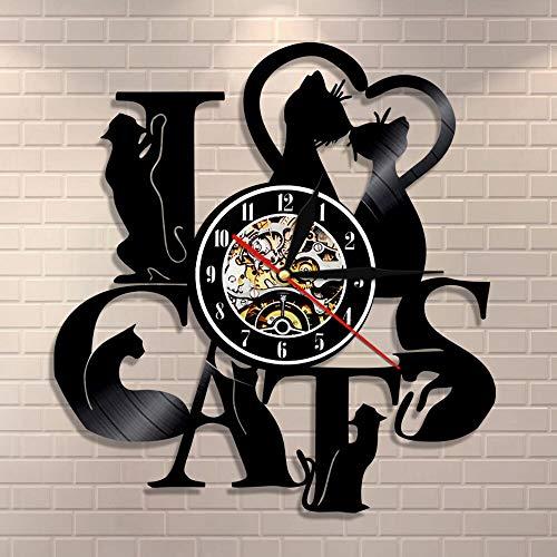 UIOLK Me Encanta el Reloj de Pared de Gato Reloj de Disco de Vinilo de Gato Negro Divertido Gato Gatito Arte de la Pared Regalo de Calentamiento de la casa Vintage para los Amantes de los Gatos