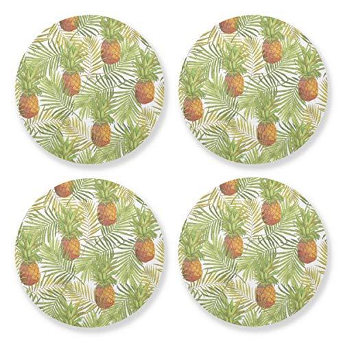 Posavasos para bebidas absorbentes – Frutas Piña Impreso Alfombra de madera natural con respaldo de corcho (juego de 4 piezas) 10,4 cm para adornos navideños