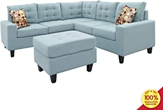 Sofa Sectional Set, Symmetrical Couch Linen-Like Left or Right Hand with Ottoman, 4 Pieces for 5 Seaters, Living Room Furniture, Blue