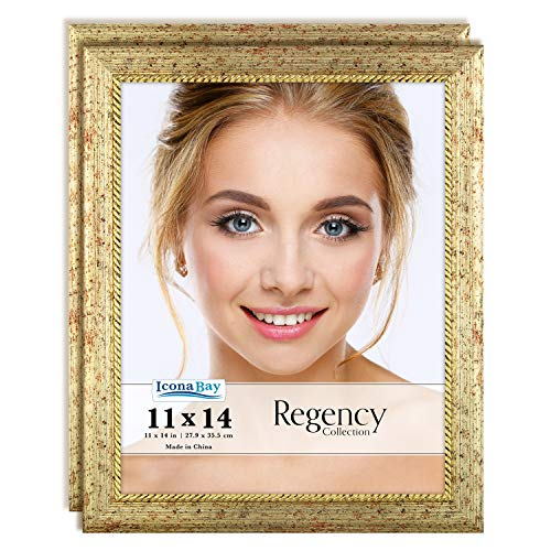 Icona Bay 11x14 Picture Frame (2 Pack, Gold), Gold Photo Frame 11 x 14, Wall Mount or Table Top, Set of 2 Regency Collection