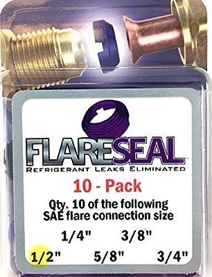 FlareSeal Leak Free SAE Flare Fitting Refrigerant Leaks Eliminated - Refrigeration, HVAC, Ductless, Schrader Valve or Mini Split Applications