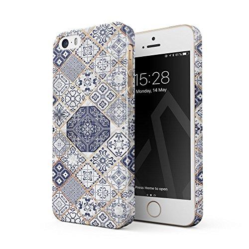 BURGA Hülle Kompatibel mit iPhone 5 / 5s / SE - Handy Huelle Licht Blau Weiß Mit Gold Marmor Marble Muster Moroccan Tiles Mosaik Dünn Robuste Rückschale aus Kunststoff Handyhülle Schutz Hülle Cover