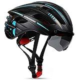 Shinmax Casco Bicicleta Adulto,Casco Bicicleta con Visera Magnética Extraíble,Certificación CE,Protección para Montar & Snowboard Unisex Cascos Bici,Casco Bicicleta Mujer con luz LED 57-62CM(RC-049