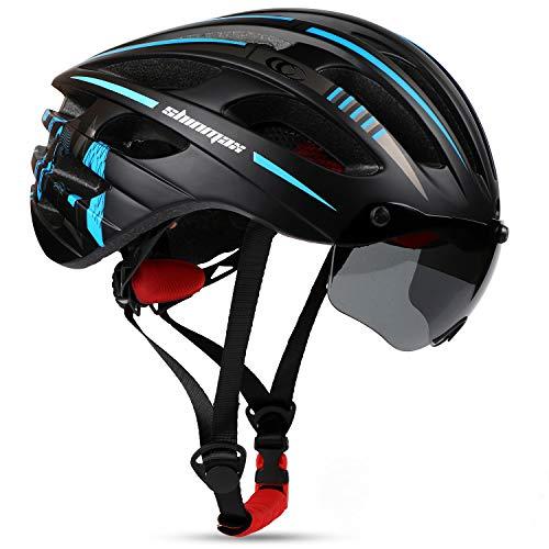 Shinmax Casco Bicicleta Adulto,Casco Bicicleta con Visera Magnética Extraíble,Certificación CE,Protección para Montar & Snowboard Unisex Cascos Bici,Casco Bicicleta Mujer con luz LED 57-62CM(RC-04