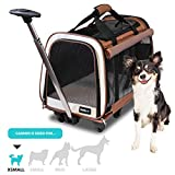 FrontPet Rolling Pet Travel Carrier - Travel Carrier with 6 Removable Wheels and Shoulder Straps, Strong Breathable Mesh Panels and Comfortable Mat (12' W x 20' L x 16' H)