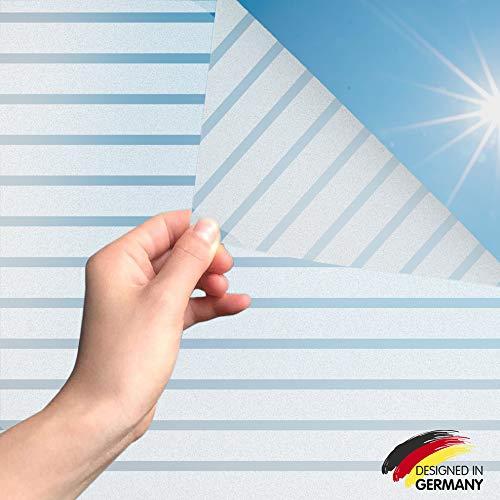 MARAPON®️ Fensterfolie Streifen statisch haftend [90x200 cm] inkl. eBook mit Profitipps - Fensterfolie blickdicht selbstklebend - Fensterfolie Sichtschutz - Fensterfolie Sonnenschutz