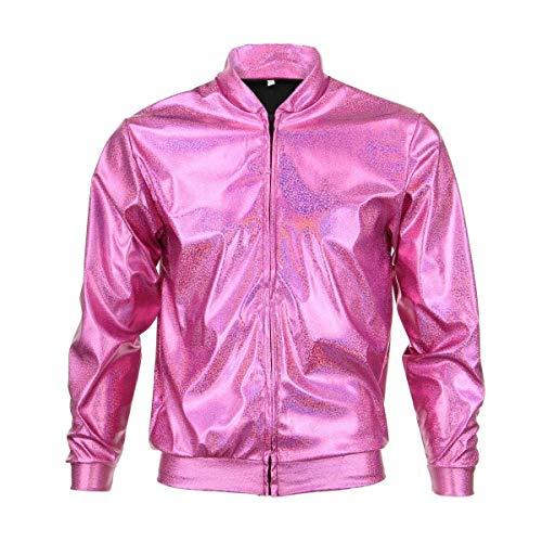 BFD Bomberjacke für Herren und Damen, metallisch, glänzend, leicht, schmale Passform, Silberfarben/Goldfarben Gr. M/L, rose