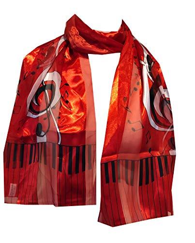Pamper Yourself Now Dünner Schal mit Klavier-Design und Musiknoten, tolles Geschenk für Musikliebhaber Gr. One size, rot
