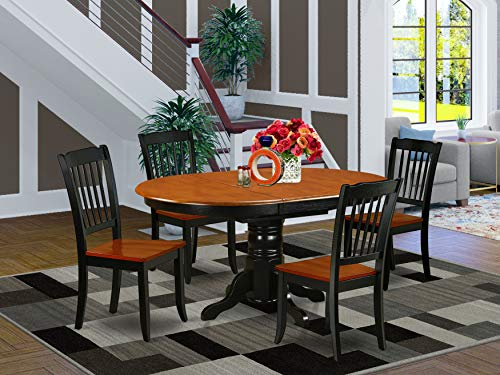 5PC Oval 42/60 inch Table with 18 In Leaf and 4 vertical slatted Chairs