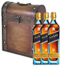3 x Johnnie Walker Blue Label Blended Scotch Whisky in Antique Effect Gift Box