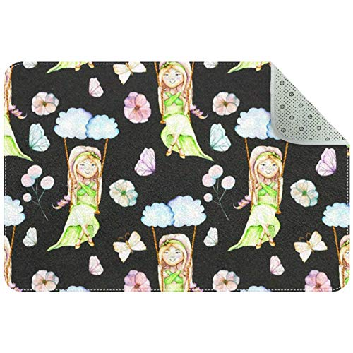 GYGYGY Indoor Doormat - Sponge Rounded Corners Shoes Scraper Rugs for Entrance Bathroom,Butterflies And Flowers