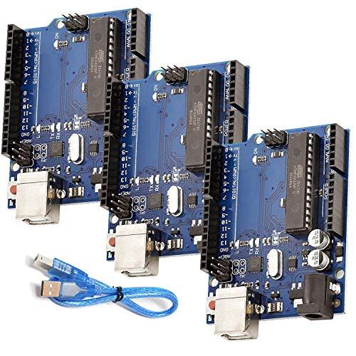 AZDelivery 3 x ATmega328P Mikrocontroller Board ATmega16U2 8-bit Entwicklerboard kompatibel mit Arduino Kit mit Hauptplatine und USB-Kabel inklusive E-Book!