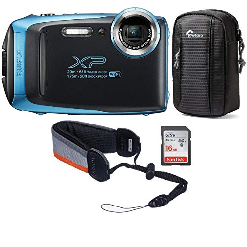 Fujifilm FinePix XP130 16.4MP Digital Camera, 5X Optical Zoom, Sky Blue - Bundle with 16GB SDHC Card, Camera Case, Rugged Float Strap