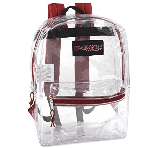 Clear Backpack With Reinforced Straps For Security & Sporting Events (Red)