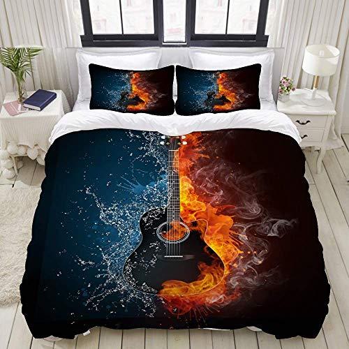 Juego de Funda nórdica, Guitarra acústica Fire Water Illustration Elements, Colorido Juego de Cama Decorativo de 3 Piezas con 2 Fundas de Almohada