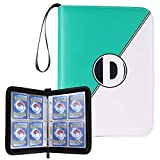 D DACCKIT Carrying Case Binder Compatible with Pokemon Trading Card - Holds Up to 400 Cards, Card Collectors Album with 50 Premium 4-Pocket Pages - Green & White