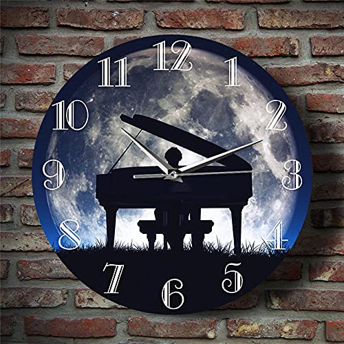 WAIGE Reloj de pared con diseño de hombre tocando el piano bajo la luna llena luz de la luna, reloj clásico para decoración de pared, reloj de pared, 30,5 cm
