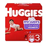 Huggies Little Movers Diapers, Size 3 (16-28 lb.), 66 Ct, Big Pack (Packaging May Vary)