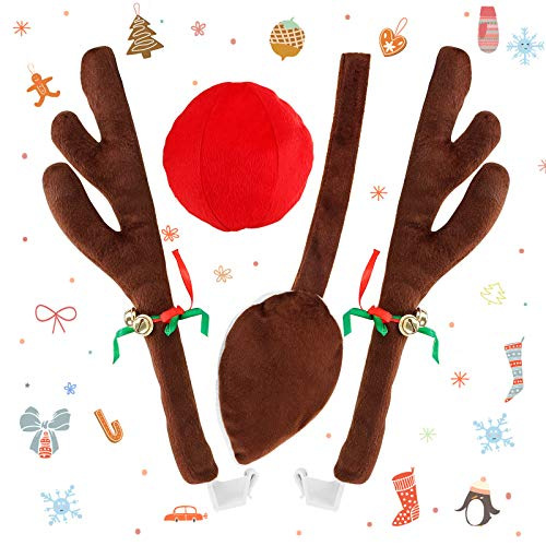 AODOOR Weihnachtsdekor für Auto, Rentier Auto Rudolf für Auto Rentier kostüm weihnachtsdeko Auto Deko für Truck Van SUV mit Schwanz 43cm Rentier-Geweih für den Kühlergrill Ren Rote und Braunes Schwanz