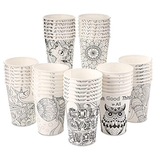 Color Your World [100 Pack - 12 oz] Color-able Designs | Sturdy Disposable Paper Coffee Cups | Tea Paper Cups | Compostable Hot Beverages, Cold Water | Single Wall Insulation | Lids NOT included