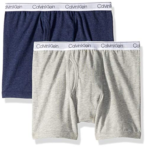 Calvin Klein Boys' Big Assorted 2 Pack Boxer Briefs, Gray/Heather Blue, S (6/7)