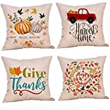 Studio 21 Graphix Set of 4 Fall Halloween Throw Pillow Covers 18x18 Inches Holiday Pillow Covers Thanksgiving Farmhouse Decorative Autumn Pillowcase Cushion Case for Home Decor (Color 1)