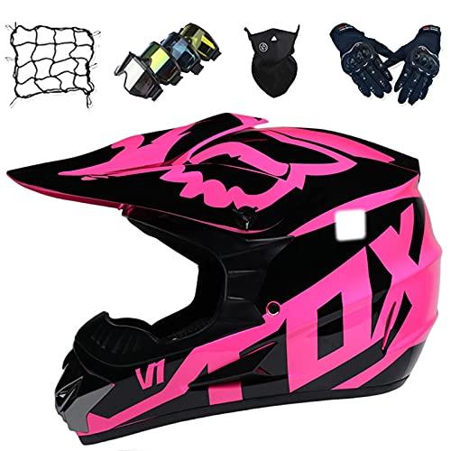 Juego Cascos Motocross, Cascos Motocicleta Todoterreno para Niños con Gafas/Guante/Máscara/Red de Bungy, Casco de Choque de Motocicleta para Adultos para ATV MTB Dirt Quad Bike - con Diseño FOX - Rosa