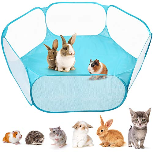 Upgraded Small Animal Cage Tent, Waterproof Foldable Pet Playpen Outdoor/Indoor Pop Open Exercise Fence, Guinea Pig Cage Tent, Breathable Portable Yard Fence for Guinea Pig, Rabbits, Hamster