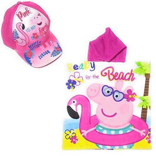 Poncho Peppa Pig Toalla para Playa o Piscina + Gorra Peppa Pig de Algodón para Niñas