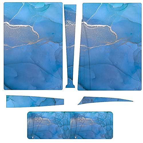 Las pegatinas de consola y controlador PS5 con patrón de mármol azul...