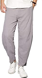 comodo pigiama per yoga in lino con coulisse MakingDa con tasche pilates a gamba larga tinta unita danza Pantaloni Harem da uomo