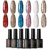 VOXURY Diamante Lentejuelas UV Gel Set de Esmalte de Uñas, 6 Colores Super Sparkling Glitter...
