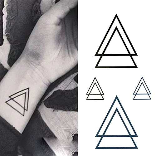 Oottati Small Cute Temporary Tattoo Wrist Geometric Triangles (Set of 2)
