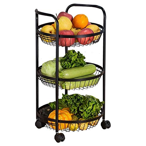 zyl Carro rodante Carro de Cocina con 3 cestas Estantes de Almacenamiento móvil para Cocina Oficina en casa Garaje Baño