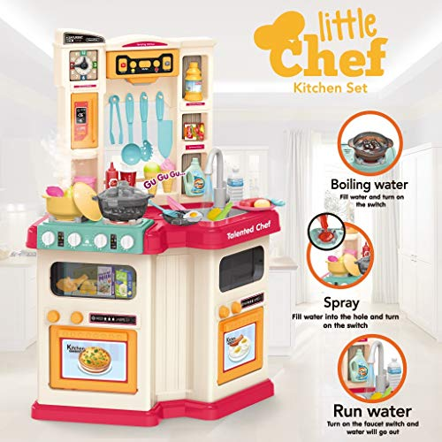 【U.S. shipping】Fun with Friends Kitchen | Large Plastic Play Kitchen with Realistic Lights & Sounds | Kids Kitchen Playset & Kitchen Accessories Set with Real Cooking Spray And Water Boiling Sounds