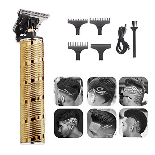 Xnuoyo Pro Hair Clippers Tagliacapelli Tagliacapelli Uomo, Set Tagliacapelli Elettrico Multifunzionale Impermeabile, Kit per la Capelli Trimmer Cordless Ricaricabile USB con 3 Pettini(golden)