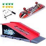 QNFY Mini Planche à roulettes à Doigts, Finger Skateboard avec Rampes de Skatepark Accessoires Entraînement Ultimate Parks de Fingerboard Toy Cadeau d'anniversaire pour Enfants (B)