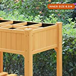 Quictent 8 Grids Raised Garden Bed 35.4''L x 23.6''W x 35.4''H Wooden Planter Kit Box with Legs for Herbs Vegetable and… 17 【8 Grids for Grow 8 Different Herbs】--- 2 installation methods, use the shelves to make 8 grids to grow different vegetables or herbs, or disassemble shelves to make a whole garden box to grow more. Give you more convenience to use it. 【100% Natural Wood Material,Weight Capacity:440lbs】--- This raised garden bed is made of non-paint natural cedar wood which can resist weather-related damage, won't warp, shrink or swell in high humidity. Weight capacity: 440lbs, never worry about falling or legs broken.More than 30 inches tall,it's good for those who struggle to bend down or lean over. 【Assemble with Screws, Refuse any Crack】--- There are holes on every parts that need to be assembled,all connected by screws,which is very stable and easy to use screwdriver to assemble and refuse any crack on the wood.You can use this raised garden planter for years.