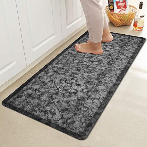 "HEBE Kitchen Mats Cushioned Anti-Fatigue Floor Mat Waterproof Non-Slip Kitchen Rug Floor Carpet Heavy Duty Comfort Standing Mat Pads,20""x39"",Silver Grey"