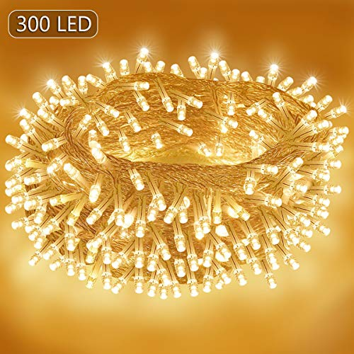 Homeleo 165ft 300 LED Outdoor Christmas Lights,Patio String Lights,UL Listed,8 Lighting Modes, Warm White Indoor Fairy Lights for Wedding Party Bedroom Decorations