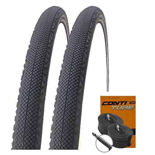 Set: 2 x Conti Speed Ride Reflex Semi-Slick Reifen 42-622 / 700x42C + 2 Conti SCHLÄUCHE Rennradventil