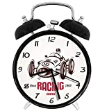 Retro Style Race Car Emblem Formula Automobile Icon Speed Competition Chesnut Brown Pink White 4 inch Round Silent Analog Alarm Clock Non Ticking,with Night Light Beside/Desk Alarm Clock (Black)